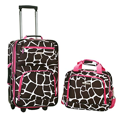 Rockland Luggage 2 Piece Printed Luggage Set, Pink Giraffe, Medium ()