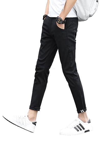 Plaidplain Mens Slim Fit Stretch Casual Khaki Pants Cropped Chinos