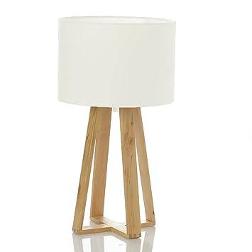 Lampe De Chevet Avec Pied En Bois Naturel Style Nordique Coloris