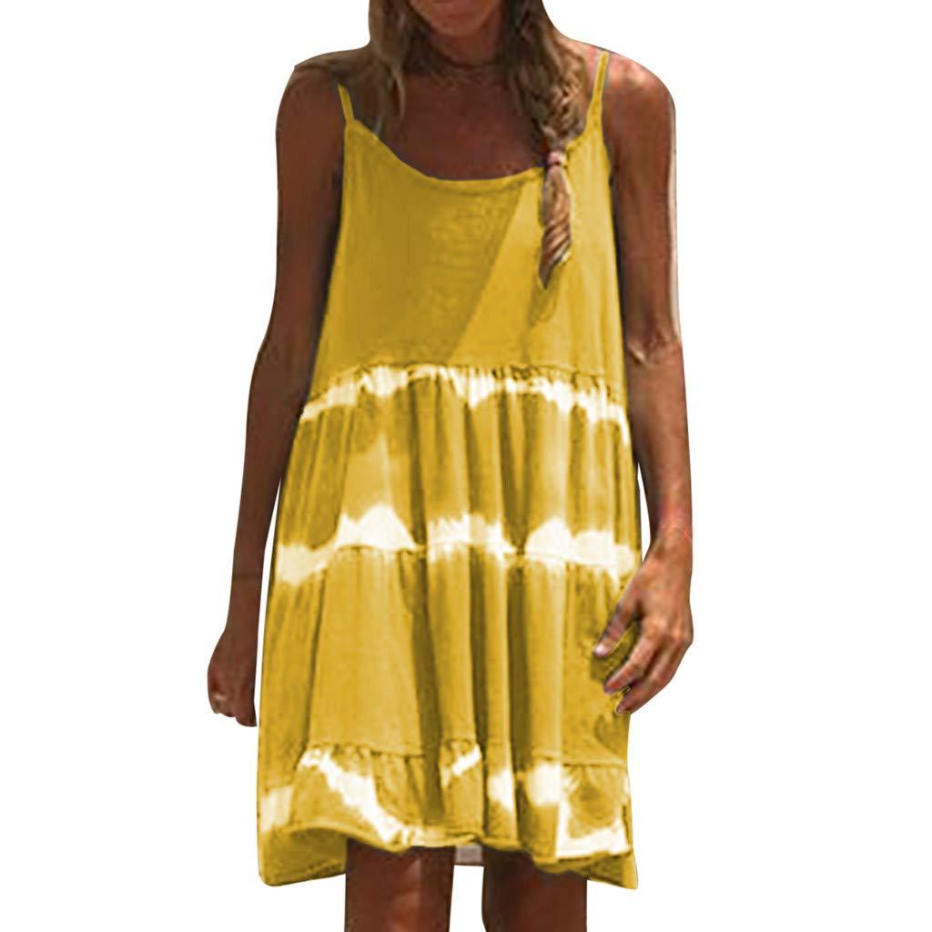 VEZAD Sleeveless Tie-Dye Dress Women Casual Camisole Chiffon Boho Sexy Mini Dresses Yellow