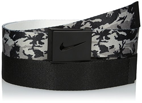 Nike Men's 2 Pack Web Belt In Giftable Tin, black Camo/black, One Size (Cut Out Logo Buckle Belt)