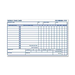 Rediform Employee Time Card, Weekly, 4.25 x 7 Inches, 100 per Pad (4K409)