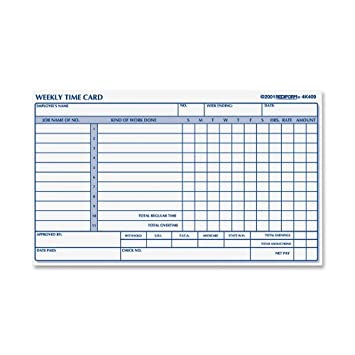 Amazon.com : Rediform Employee Time Card, Weekly, 4.25 x 7 Inches ...