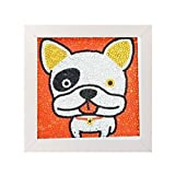 Caraok 5D Diamond Painting Full Drill Kits for Kids, Cross Stitch Kits for Children with Frame 6X6 Inch (Bulldog)