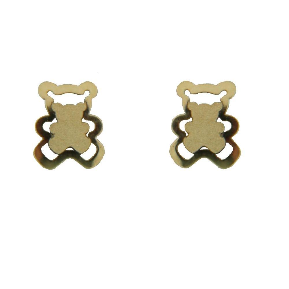 18K Yellow Gold Satin center open Teddy Bear Screwback Earrings