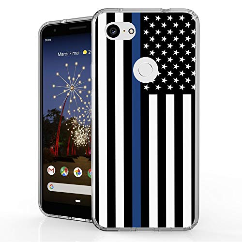 (Beyond Cell Bumper Series for Google Pixel 3a XL (2019) Case, Hybrid Slim Clear Hard PC Design Flexible TPU Ultra-Thin Shockproof Transparent - Thin Blue Line Flag)