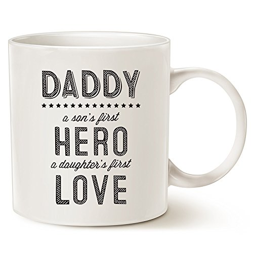 First Christmas Mug (MAUAG Unique Fathers Day Ceramic Coffee Mug - Daddy: A Son's First Hero, A Daughter's First Love - Best Father's Day Gifts Porcelain Cup, White 14 Oz by LaTazas)