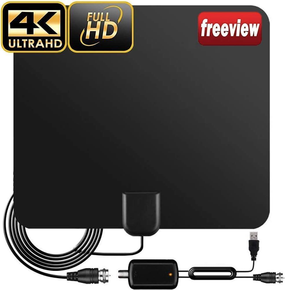 DVB-T2 Antenne TV Antenne Zimmerantenne f/ür Fernseher 240KM Reichweite Smart Verst/ärke Signalverst/ärker,Geeignet f/ür 1080P 4K Kostenlose TV Kan/äle f/ür DVB-T//DVB-T2 TV Antenne