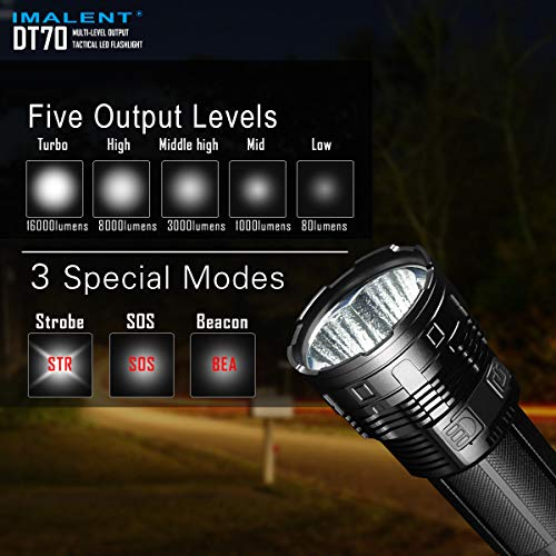 IMALENT DT70 Flashlights High Lumens Rechargeable 16000 Lumens 4 Pcs CREE XHP70 LEDs, Portable Handheld Torch by IMALENT (Image #2)