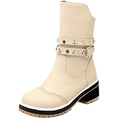 JOJONUNU Women Block Heel Bootie Boots Zip