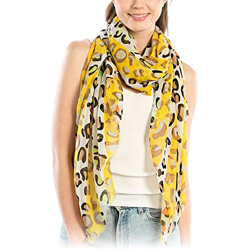 Leopard Yellow - Me Plus Women Fashion Lightweight Soft Spring Summer Long Scarf Shawl Wraps (Multi Color Leopard Print - Yellow)