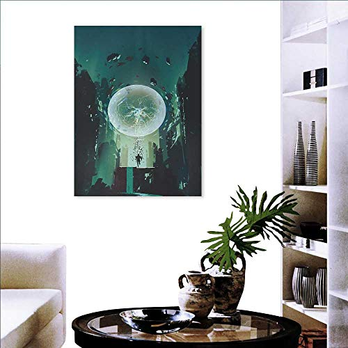 Anniutwo Fantasy Canvas Print Wall Art Ball and Human Merging Building Dark Feeling Magic Featured Comics Fiction Artwork Wall Sticker 16