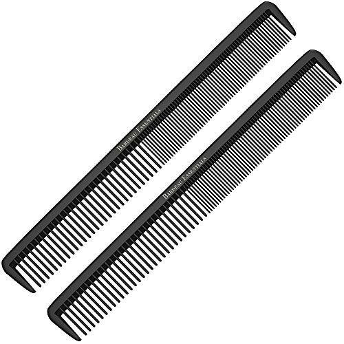 "Styling Comb (2 Pack) - Professional 8.75"" Black Carbon Fiber Anti Static Chemical And Heat Resistant Hair Combs For All Hair Types - By Bardeau Essentials"