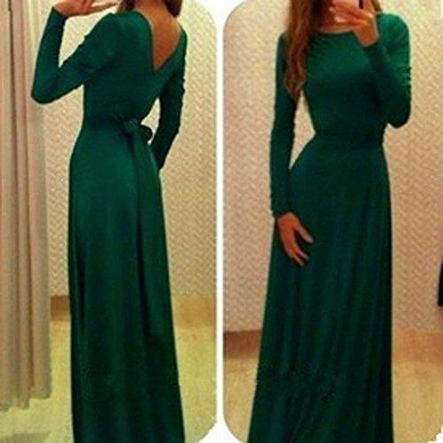 las mujeres del vestido de espalda v costura de cuello de algodon de manga larga de la cintura falda larga ocasional Verde