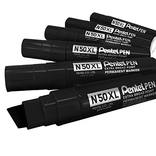 (Pentel N50XL Extra Large Broad Permanent Marker - Chisel Tip - Pack of 6 - Black)