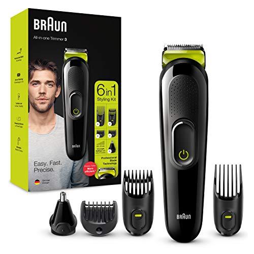 Braun Recortadora MGK3221 6 en 1, Máquina recortadora de barba, cortapelos, recortadora facial, para nariz y orejas