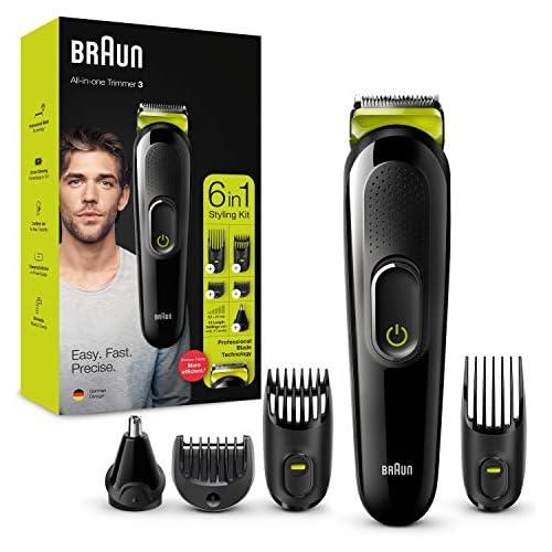 chollos oferta descuentos barato Braun Recortadora MGK3221 6 en 1 Máquina recortadora de barba cortapelos recortadora facial para nariz y orejas para hombre color verde eléctrico