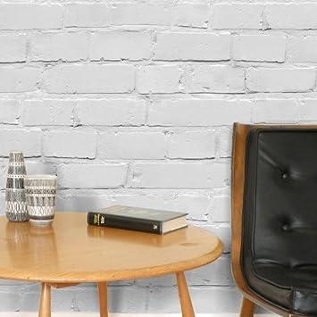 Mezzanine Photo Realiste Effet Brique Papier Peint En Blanc Et Gris
