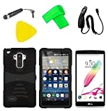 Hybrid Cover Case Cell Phone Accessory + Car Charger + Screen Protector + Extreme Band + Stylus Pen + Pry Tool For LG G Stylo LS770 / LG G4 Stylus H631 / LG G Stylo MS631 (S-Hybrid Black Black) -  ExtremeCases