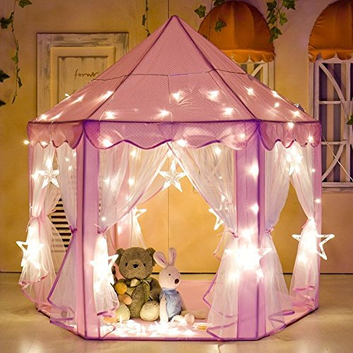 """e-Joy Kids Indoor/Outdoor Tent Fairy Princess Castle Tent,Perfect Hexagon Large Playhouse Toys for GirlsBoys Children Toddlers Gift/Present Extra Large Room 55""""x 53""""(DxH) Pink with LED Light"""