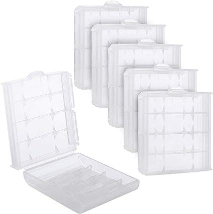 UCEC Caja Batería, 6 Piezas Cajas de Pila AAA, Micro y AA,para guardar y transportar (color blanco, plástico): Amazon.es: Electrónica