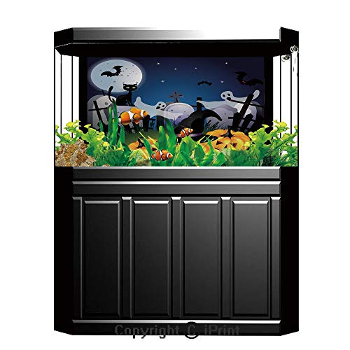 Terrarium Fish Tank Background,Halloween,Funny Cartoon Design with Pumpkins Witches Hat Ghosts Graveyard Full Moon Cat Decorative,Multicolor,Photography Backdrop for Pictures Party Decoration,W48.03