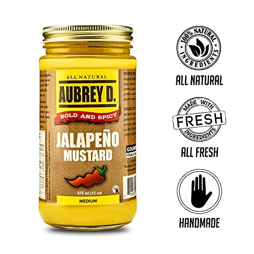 Aubrey D. Jalapeno Mustard, Bold Spicy Hot for BBQ Hot Dogs, Burgers, Dressing, Potato Salad ()