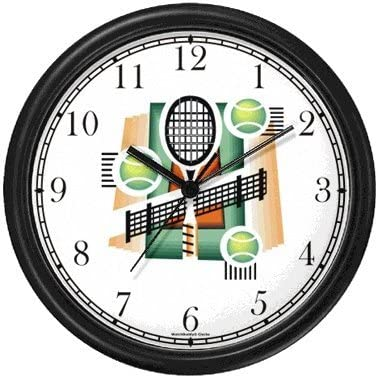 Tennis Montage – Racket, Balls, Net, Court – Tennis Theme Wall Clock by WatchBuddy Timepieces Black Frame