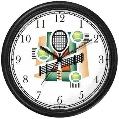 (Tennis Montage - Racket, Balls, Net, Court - Tennis Theme Wall Clock by WatchBuddy Timepieces (Hunter Green Frame))
