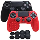 YoRHa Studded Silicone Cover Skin Case for Sony PS4/slim/Pro controller x 2(black+red) With Pro thumb grips x 8