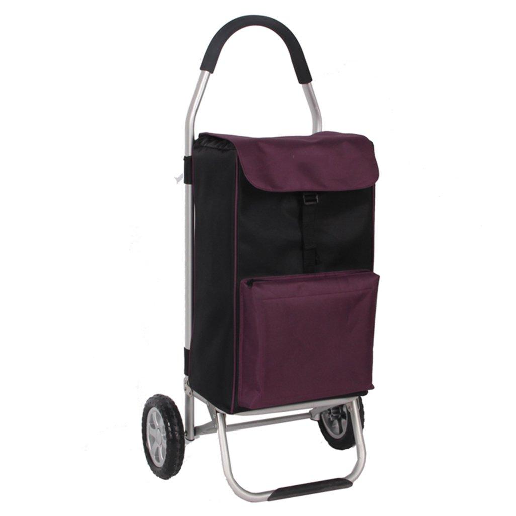 J-JIAショッピングキャリー ショッピングトロリー軽量折りたたみ旅行|食料品トロリーカート2 PUホイールオックスフォード布モビリティトロリーバッグカート市場大容量56LヘビーデューティーMax.40KG (色 : Purple) B07FL6TRJZ Purple Purple