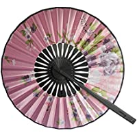 Weixinbuy Round Floral Japanese Style Fabric Hand Fan Colorful Home Festival Decor