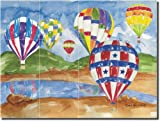 Hot Air Balloons I by Sara Mullen - Artwork On Tile Ceramic Mural 12.75'' x 17'' Kitchen Shower Backsplash