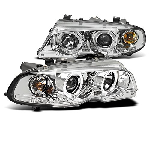 (ZMAUTOPARTS BMW E46 3 Series 2Dr/ M3 Halo LED Projector Headlight Chrome)