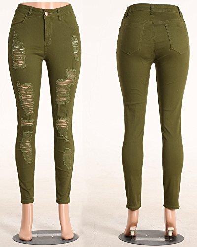 Tinta Skinny Vita Jeans ZongSen Pantaloni verde a unita Scarni Donna Esercito Strappati Ginocchia Jeans Alta Leggings Uq1fxRqw