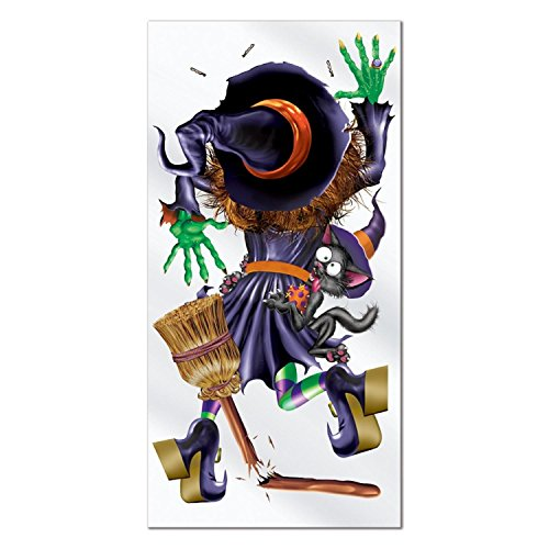 Witch Crashing Door Cover (Club Pack of 12 Halloween Themed Crashing Witch Door Cover Party Decorations 5')
