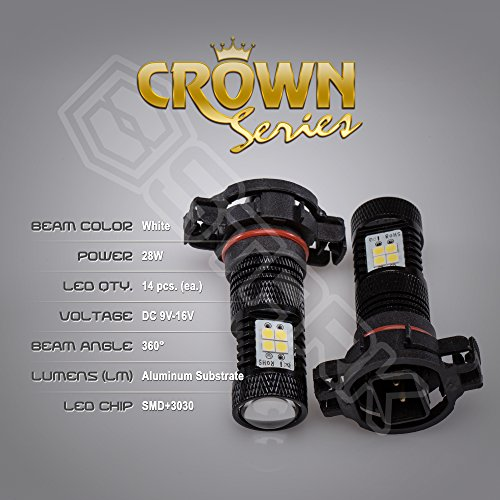2x 28W Kit 3000 lm Bulbs – Crown Series 3030 Max Intensity – 14 pcs SMD Chip Projector Fog Lights – 5202 – White