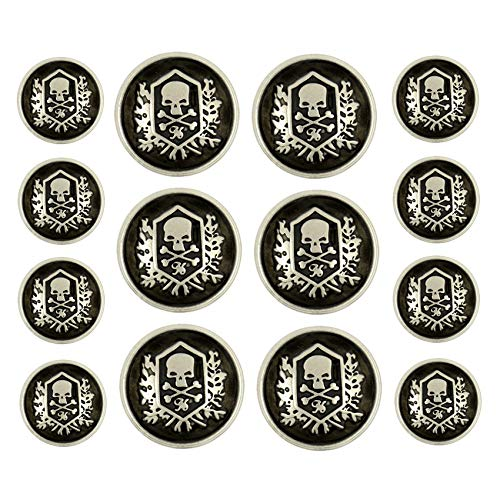 (Bezelry Skull Emblem Matte Silver Black Metal Shank Double Blazer Button Set. 6 Pcs of 23mm, 8 Pcs of 15mm)