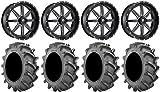 Bundle - 9 Items: Fuel Maverick Black 22'' Wheels 37x8.3 BKT 171 Tires [4x156 Bolt Pattern 12mmx1.5 Lug Kit]