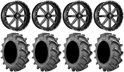 Bundle - 9 Items: Fuel Maverick Black 24'' Wheels 40x8.3 BKT 171 Tires [4x156 Bolt Pattern 10mmx1.25 Lug Kit] by Powersports Bundle