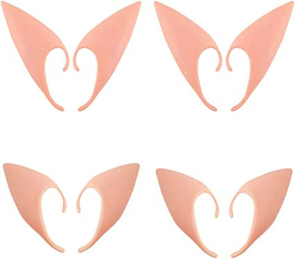 4 Pairs Latex Elf Ear Pixie Dress Up Costume,Cosplay Fairy Pixie Elf Ears Soft Pointed Ears,Masquerade Accessories Halloween Elven Vampire Fairy Ears