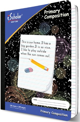 Cover Ruled Manuscript 1/2 - iScholar Primary Composition Notebook, 1/2-Inch Ruled, 100 Sheets, 9.75 x 7.5 Inches, Black Marble (10118)