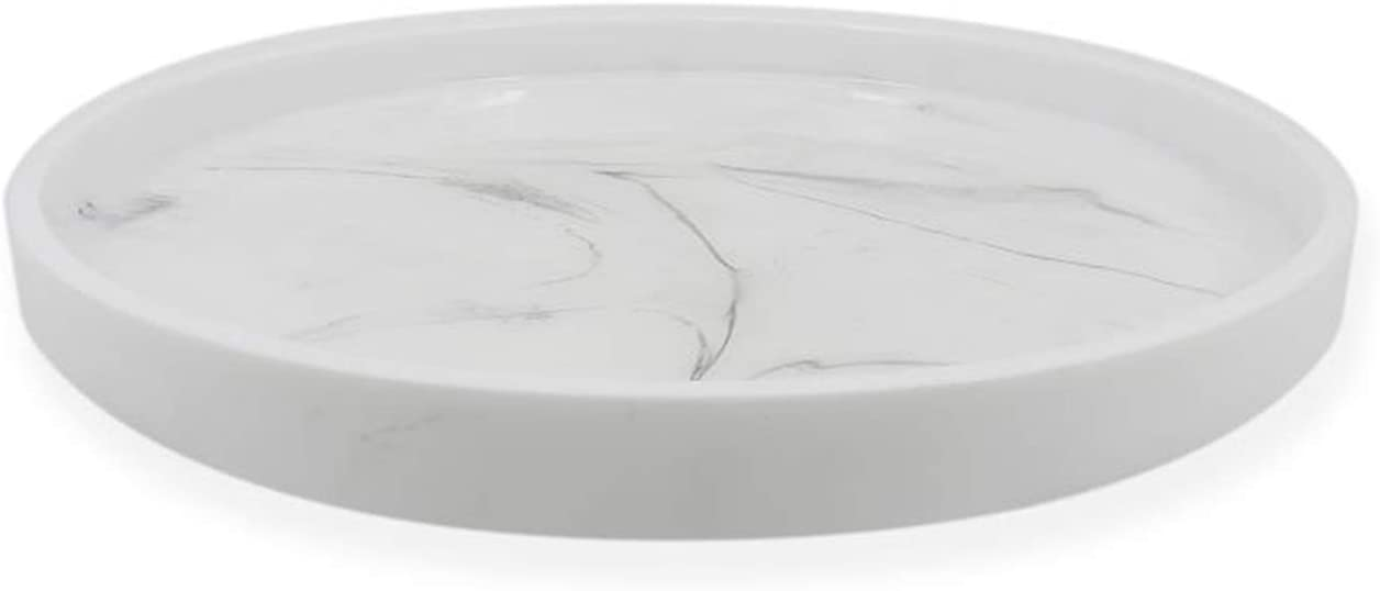 Epoxy Resin Tray,11.8-Inch(Diameter),Marble Design Serving Tray, Decorative Round Tray, Coffee Tray, Ottoman Tray for Home Or Office Storage Decoration, 100% Handmade,Non-Toxic