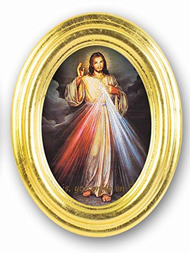 Divine Mercy (Spanish) Oval Gold Leaf 7