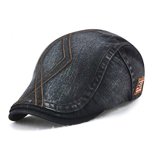 Roffatide Rhombic Pattern Cotton Newsboy Cap Retro Beret Boina Cabbie Flat Hat Ivy Cap Black