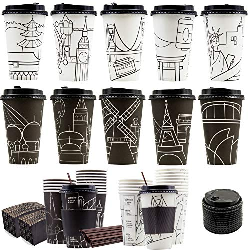 (60 Pack City Skyline Hot Coffee Cups Durable Paper Cups with Travel Lids 16oz, Sleeves and Stirrers, 16oz Disposable Cups for To Go Travel Mug Office Party)