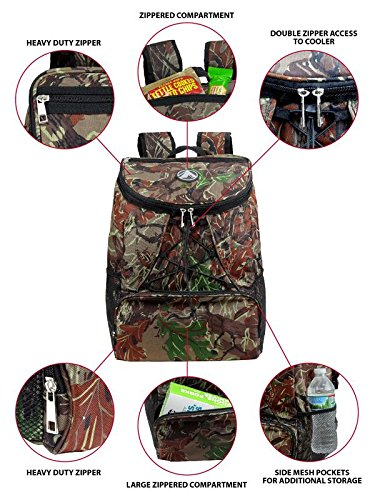 Large Padded Backpack Cooler - Fully Insulated, Leak and Water Resistant, Adjustable Shoulder Straps, Extra Storage Pockets - Camo - by GigaTent by GigaTent (Image #2)