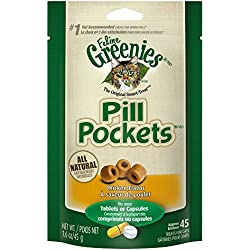 FELINE GREENIES PILL POCKETS Cat Treats, Chicken, 45 Treats, 1.6 oz. With Natural Ingredients Plus Vitamins, Minerals, And Other Nutrients