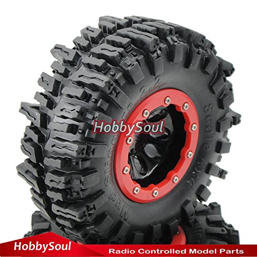 4wd Tires Wheels (RC 2.2 Beadlock Wheels & 124mm Crawler Soft Tires, 4 pieces,for RC 4WD Axial Tamiya)