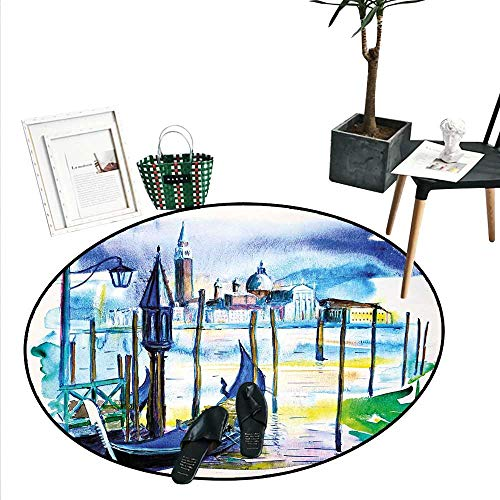Landscape Home Decor Area Rug A View with Boat in Venice Italy Landmark Seascape Scenic Watercolor Paint Perfect for Any Room, Floor Carpet (4' Diameter) Blue Purple Green